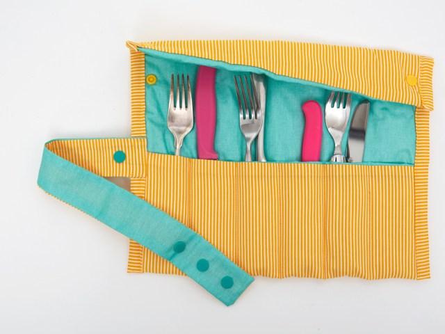 Besteckrolle selber nähen – Utensilo für Haushalt, Garten, Picknick und Reise