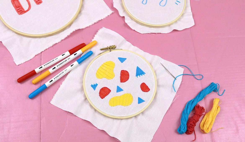 DIY: Stickrahmen mit Textilfasermalern und Stickerei gestalten