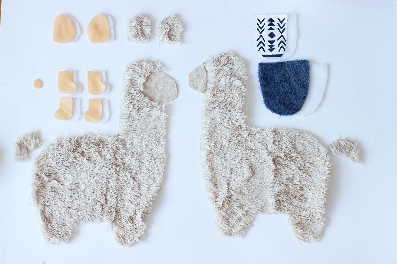 Lama-Kuscheltier-nähen-Schnittteile