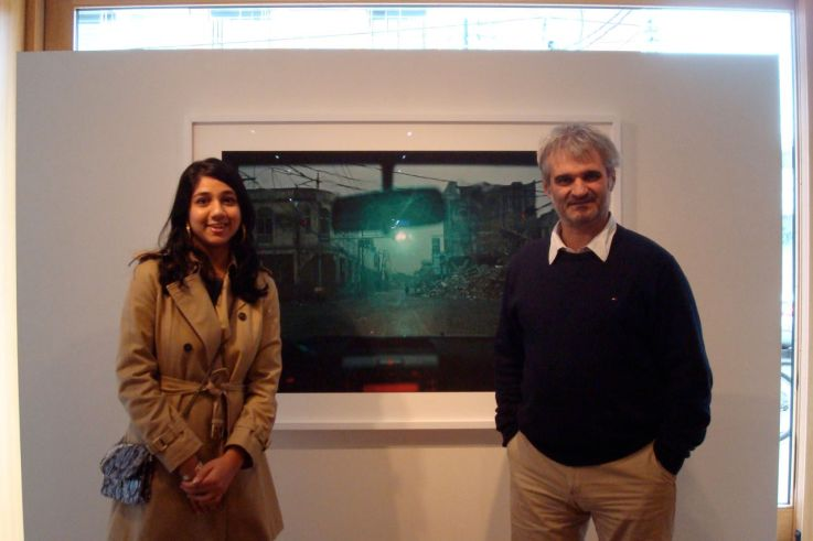 NMAF intern Wajiha Suboor with Benoit Aquin at the Stephen Bulger Gallery