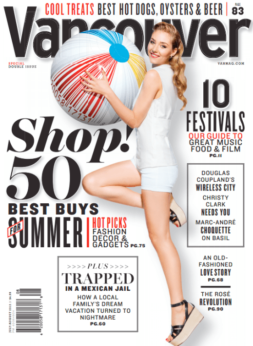"""July/August 2012"" - Vancouver Magazine, Art Direction by Randall Watson"