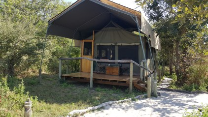 The outside view of the tented accommodation © Sango Safari Camp