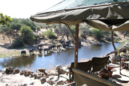 View from Meno a Kwena onto river with elephants