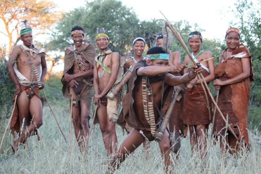 Khoisan demonstrating hunting skills in Botswana