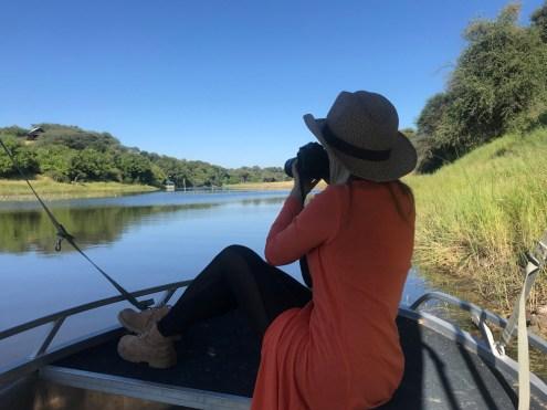 Guest enjoying views of Boteti River, Botswana