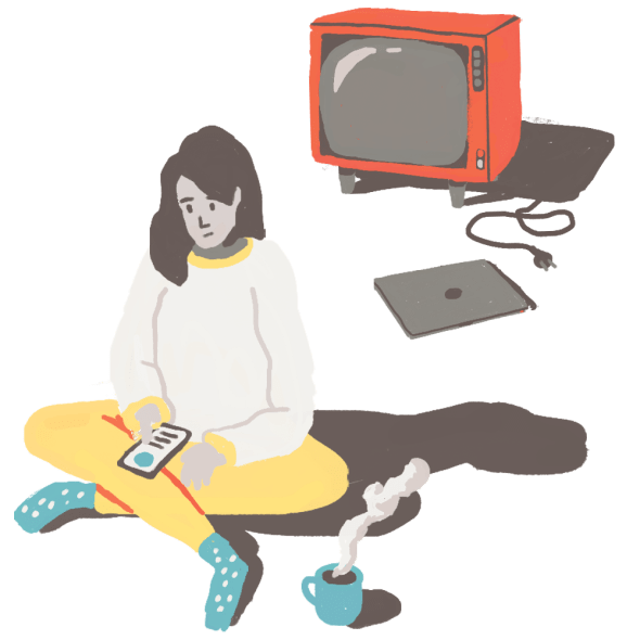 Illustration of person sitting down looking at a phone, a TV and laptop are close but off