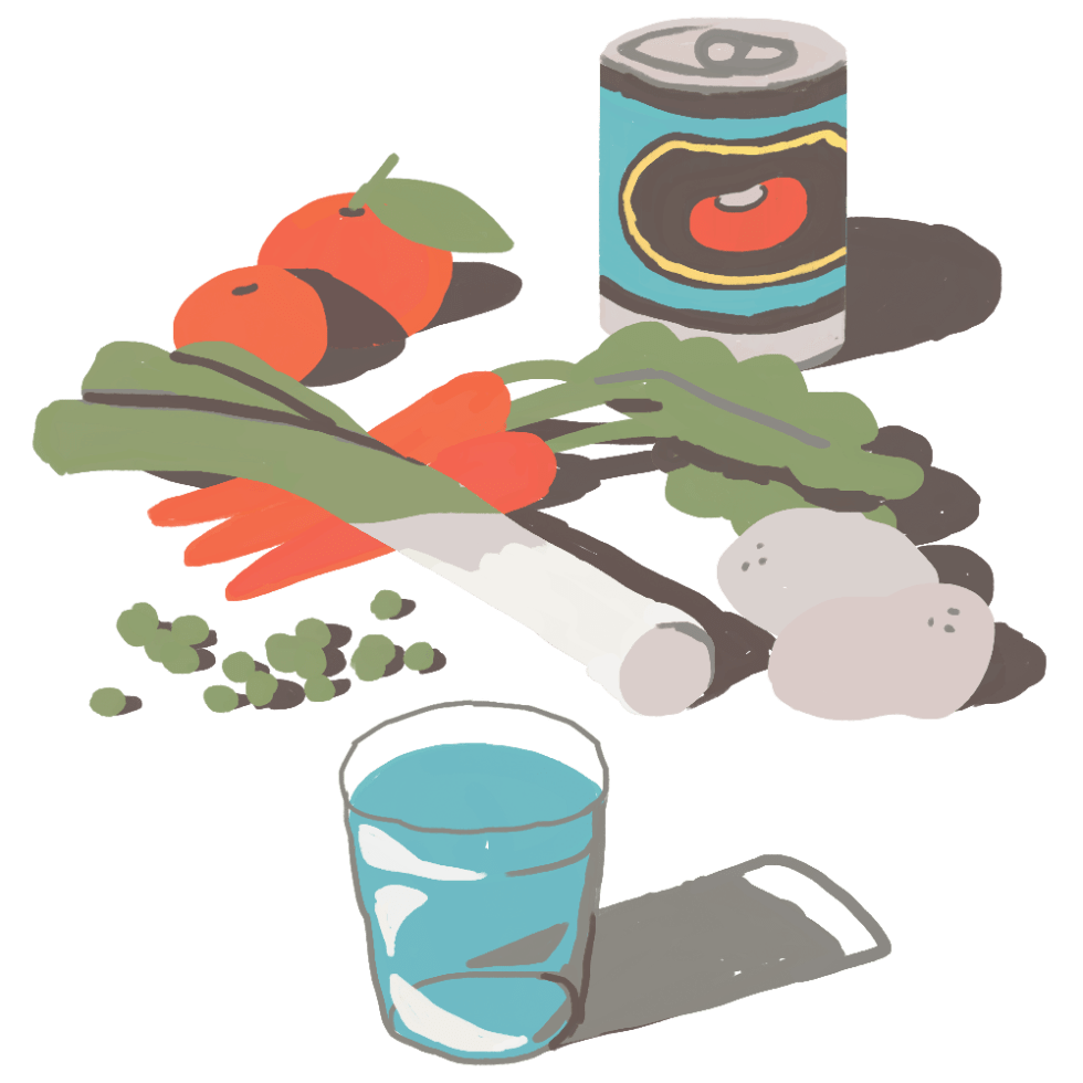 Illustration of healthy food and water