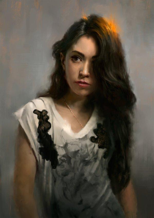 Digital Art Portrait Female Brunette