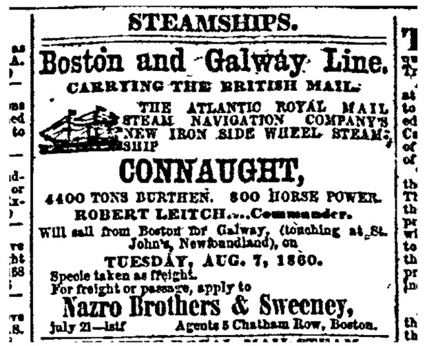 An ad for the Connaught's first voyage. (Boston Daily Advertiser)