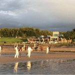 Boardwalk cricket at Cramond Edinburgh