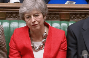 Theresa May looking dejected