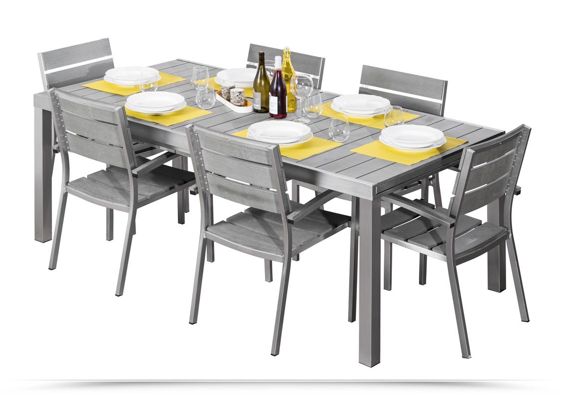 set pranzo tavolo con sedie polywood