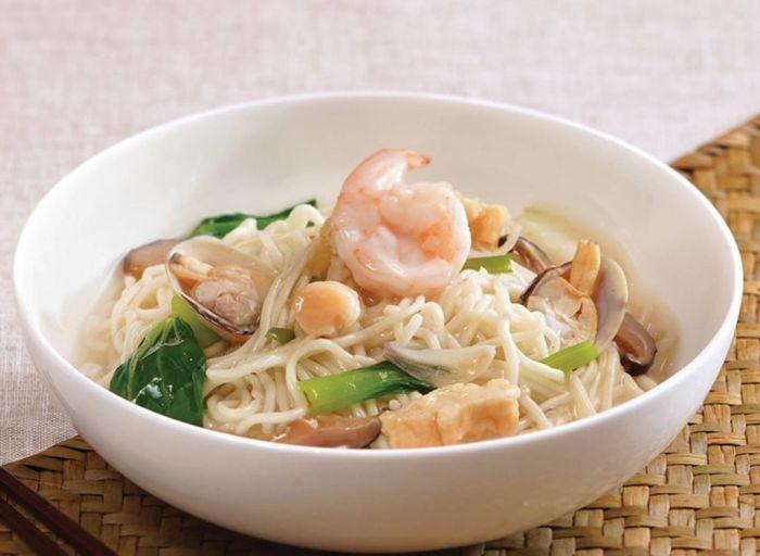 A bowl of shrimp noodle soup