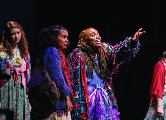 """The Hope College Theatre Department holds a dress rehearsal of the play, """"The Line Between"""" at the DeWitt Theatre."""