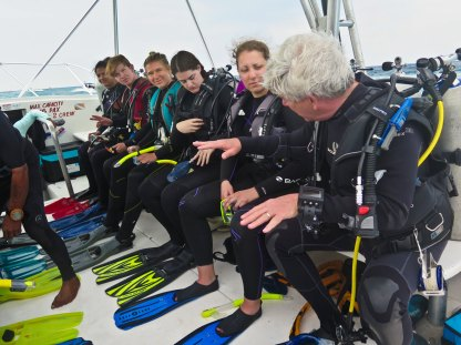 Dr. Gonthier, right, and class pre-dive