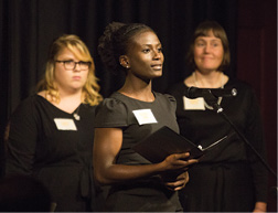 Racheal Lawal, center, a senior in chemical engineering, recognizes honoree Bipin Doshi, ChE'62, MS ChE'63.