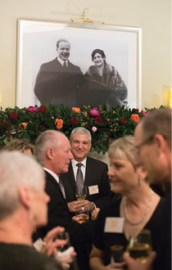 Honorees and guests mingled during a reception before dinner in the Kathleen and Matteo Coco Great Room.