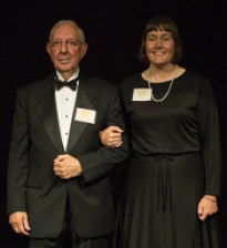 Elizabeth Bowles, a Ph.D. candidate in chemistry, escorts honoree Dick Vitek, MS Chem'58.