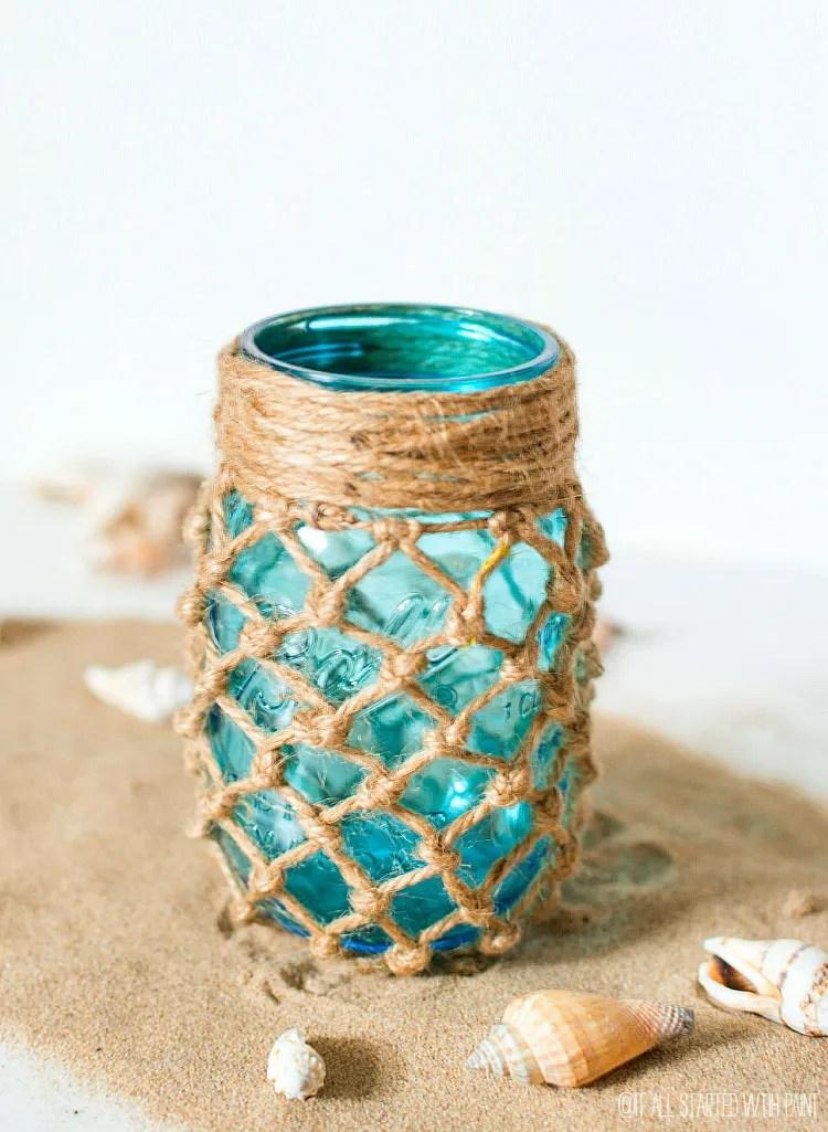 idee estive per barattoli in vetro: con rete in stile marinaro