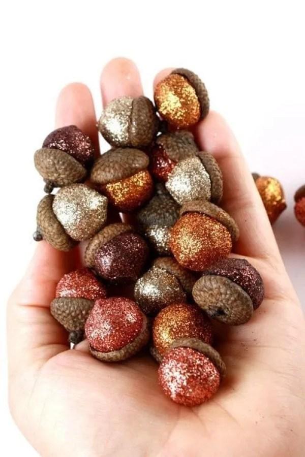 ghiande glitter per fai da te autunnale