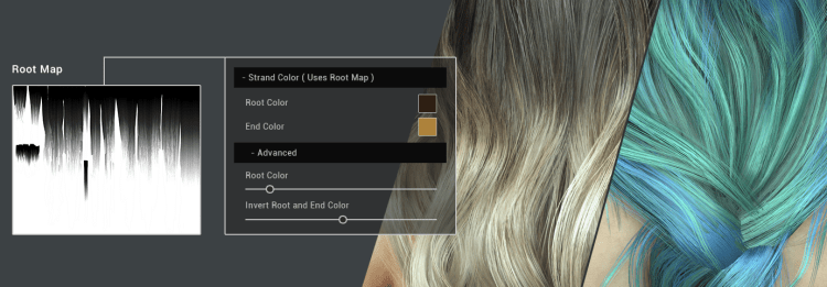 Smart Hair offers several intuitive adjustments such as Ombre and Balayage with the use of effect maps