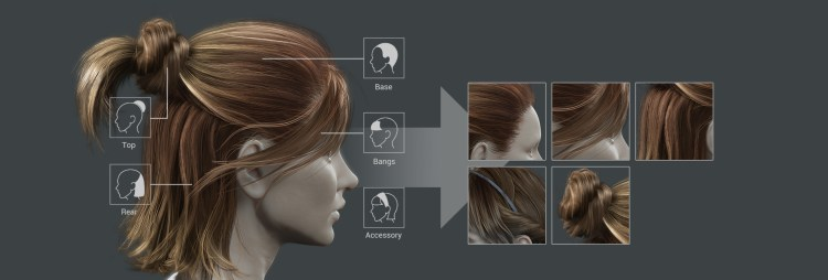iClone's Smart Hair is assembled from component-based hair parts