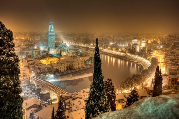 Wintry view of Verona at night