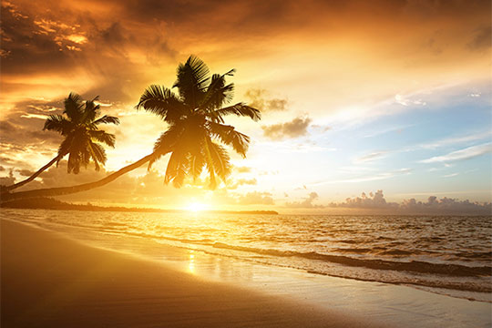 orange sunset over a beach