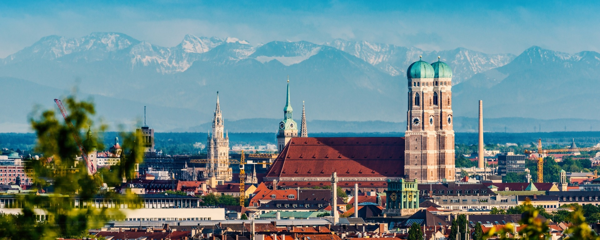 Munich skyline and the alps in the background