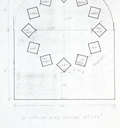 study for stained glass window south wall chapel with dimensions [ 800 x 1309 Pixel ]