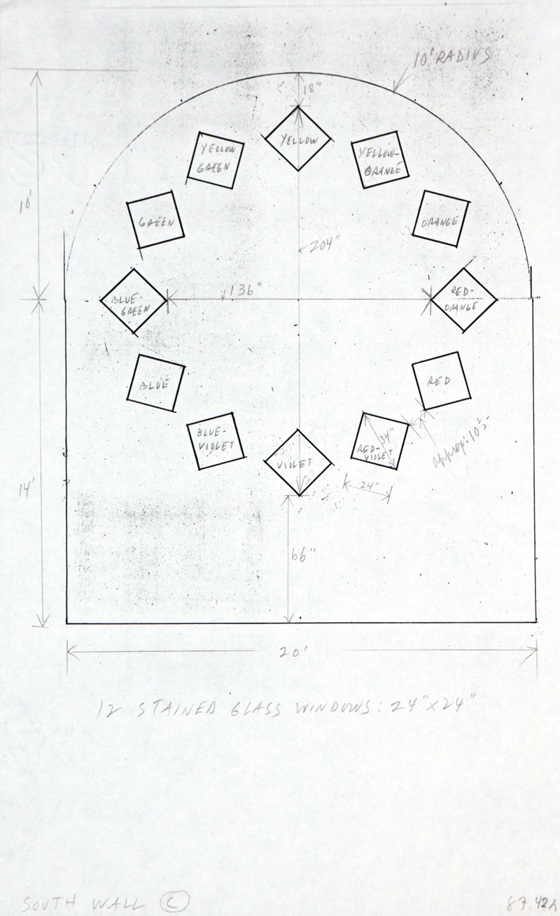 hight resolution of study for stained glass window south wall chapel with dimensions