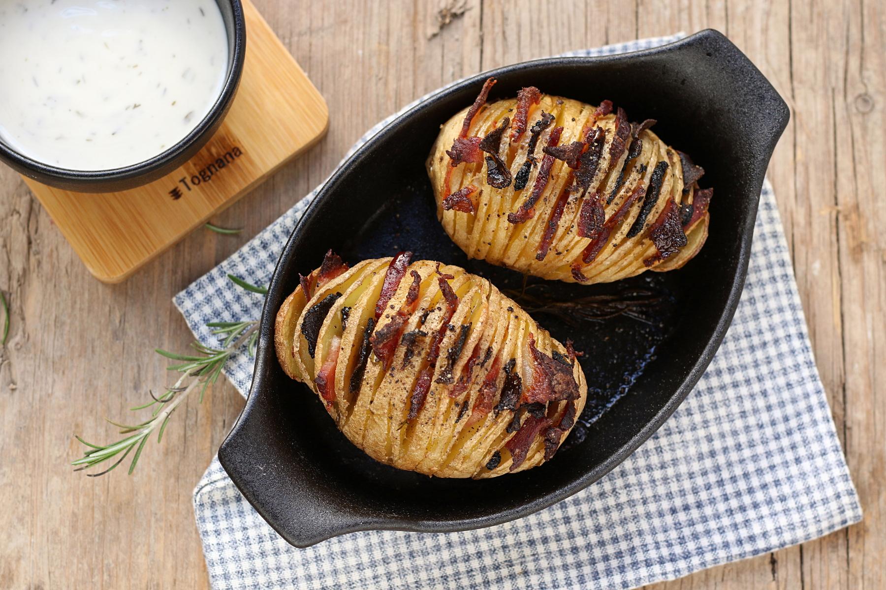 Patate con pancetta e tartufo nero