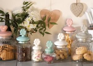 bomboniere matrimonio battesimo - barattolo in vetro con coperchio a forma di fiore tognana