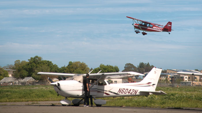A small plane takes off at the UC Davis Airport