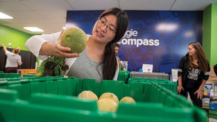 Kathleen Luo picks out produce