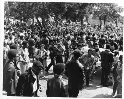 A crowd of people at a Black Panther Party rally.