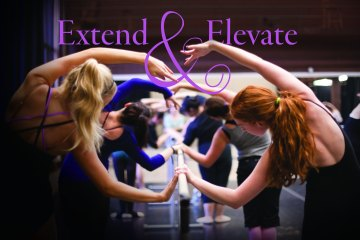 Extend and elevate as dancers practice on bar