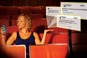 woman on phone with image of tweets coming out of her hand
