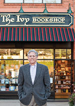 Man stands in front of the Ivy Bookshop