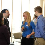 People mingling with coffee at the ancient studies reunion
