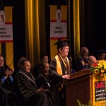 Man gives speech for graduation