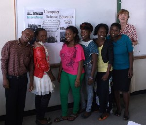 Sabin and her students in Malawi