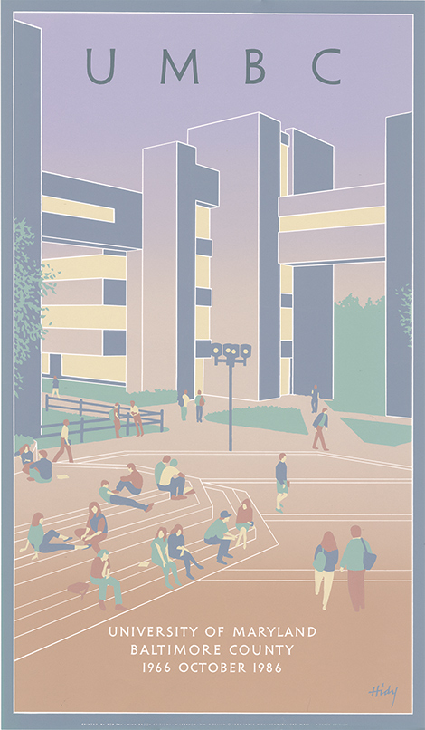 Nationally-known illustrator Lance Hidy designed the poster commemorating the 20th anniversary of the university. His work is known for its minimal detail and flat, solid colors.