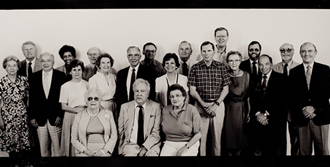 GROUP PORTRAIT OF FOUNDING FACULTY AND STAFF BY TIM FORD, 1991