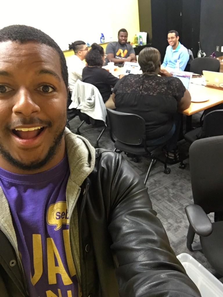 Bentley takes selfie in SGA office