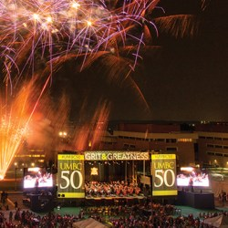 Golden Year with fireworks and crowd