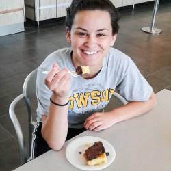 Karyn Cruz eats dessert at Dhall
