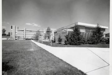 View of buildings and walkway