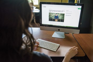 Person looking at computer monitor