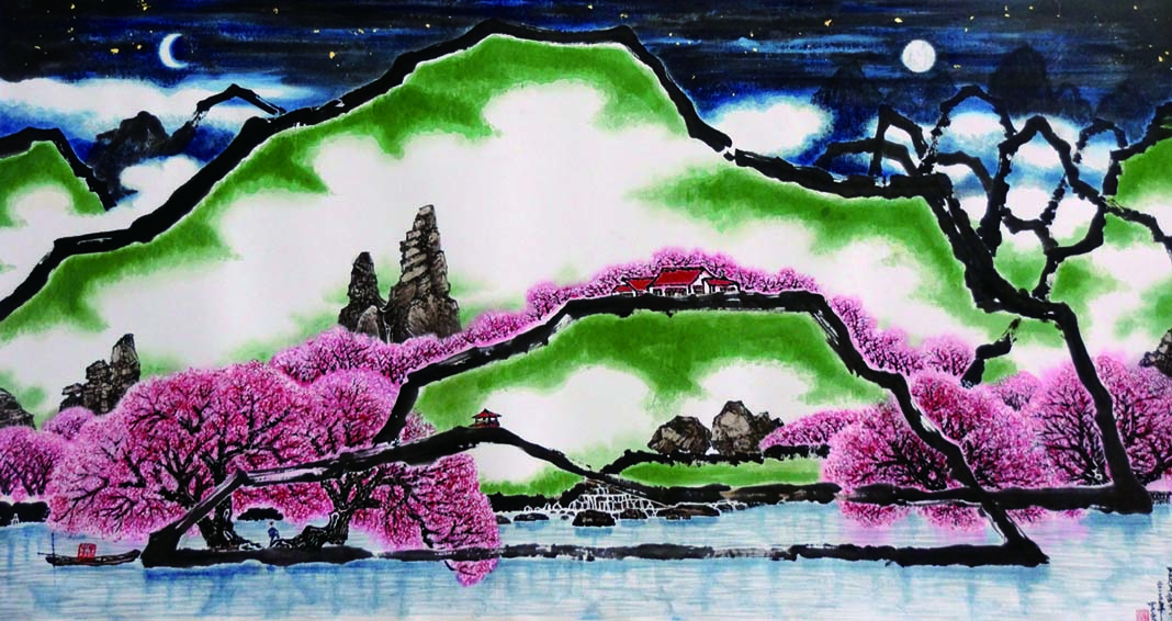 Chinese ink painting of cherry blossoms and hills with rocks on them